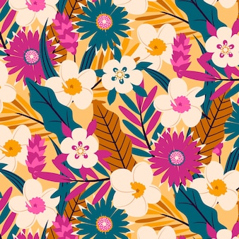 Pattern with exotic flowers and leaves