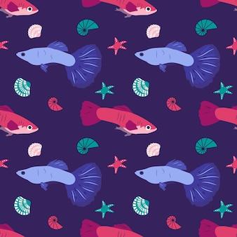 환상적인 물고기 불가사리와 조개 포장지가 있는 패턴