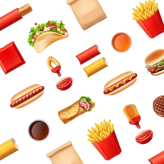 Pattern with fast food