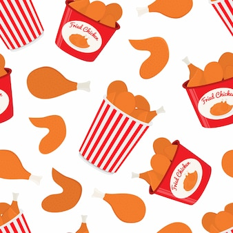Pattern with fastfood, bucket with fried chicken