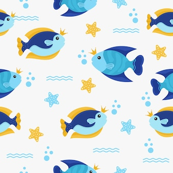 Pattern with fish character