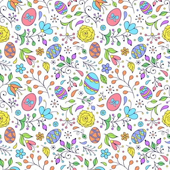 узор с цветами и пасхальными яйцами