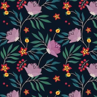Образец с цветами и листьями