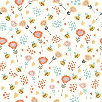 Pattern with flowers and bees