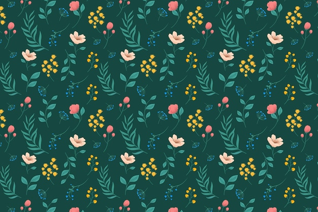 Pattern with flowers and leaves