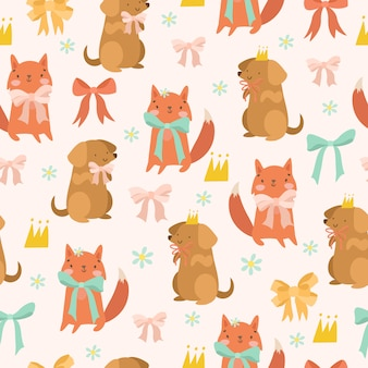 Pattern with fox and dog bows