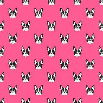 Pattern with french bulldog face