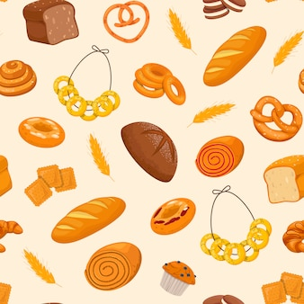 Pattern with fresh pastries