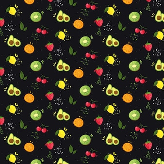 Pattern with fruits collection