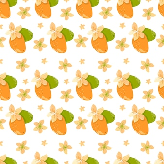 Pattern with fruits mango flowers