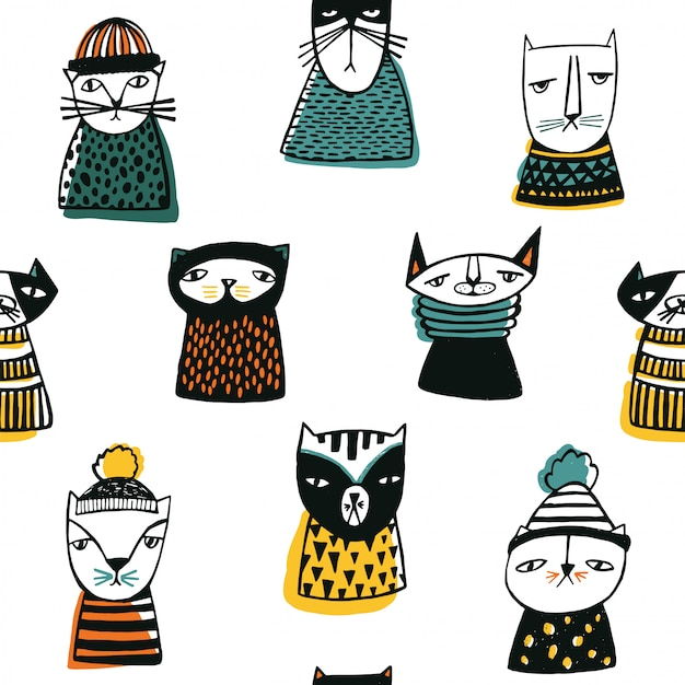 Pattern with funny cartoon cats muzzles.
