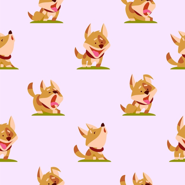 Pattern with funny dogs on a light pink background. vector illustration.