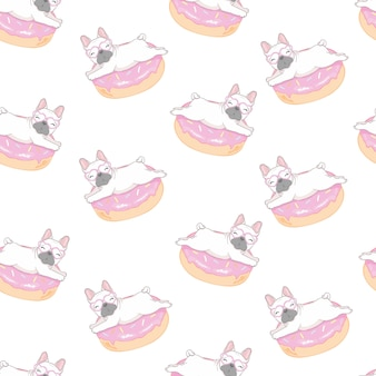 Pattern with funny pug and donut.