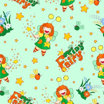 Pattern with a funny red-haired fairy, magic wand, star and lettering