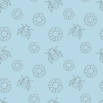 A pattern with gerbera or daisy flowers and bumblebees on a blue background.