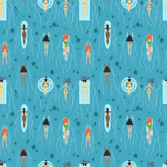 Pattern with girls swimming in the sea.