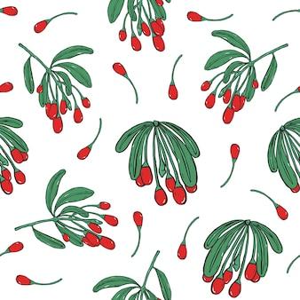 Gojiベリーのパターン。カラフルな手描きの背景と枝。