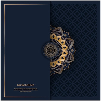 Pattern with golden vintage ornament mandala and place for text on navy blue background for invitation, postcard background