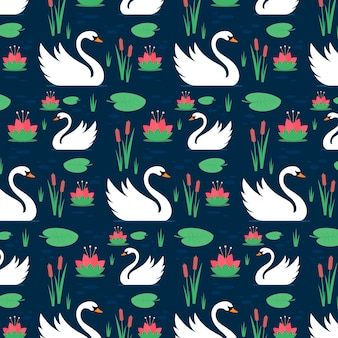 Pattern with graceful white swans