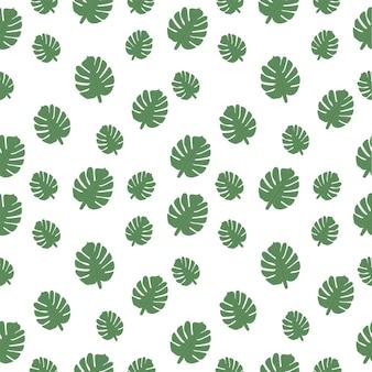 Шаблон с зелеными пальмовыми листьями векторные иллюстрации