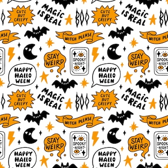 Pattern with halloween lettering inscriptions and bat moon star lightning fortunetelling card