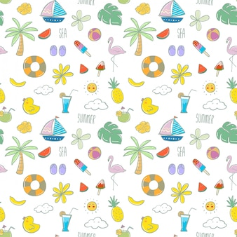 Pattern with hand drawn beach elements in the summer