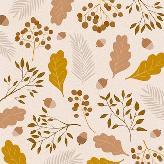 Pattern with hand drawn branches of wild plants