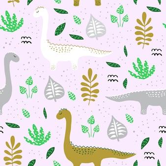 手でパターンは、北欧風の恐竜を描いた。