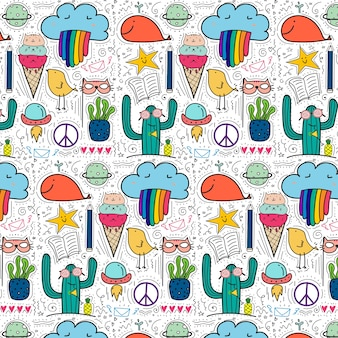 Pattern With Hand Drawn Doodle Background