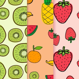Pattern with hand drawn doodle fruit background