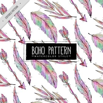 Pattern with hand drawn feathers and arrows