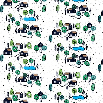 Pattern with hand drawn houses