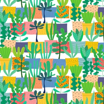 Pattern with hand drawn plants in pots.