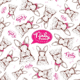 Pattern with hand drawn rabbits for baby girl birthday