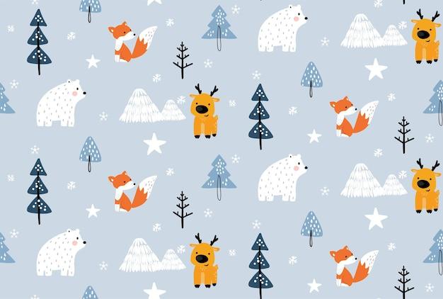 森の中の手描きのスカンジナビアの動物とパターン冬の森の中のクリスマスの動物