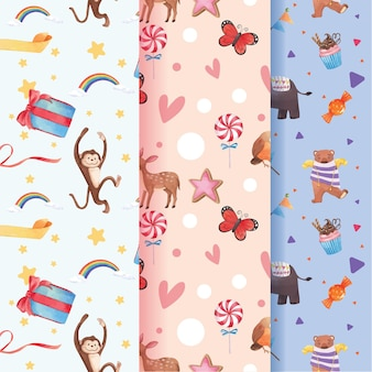 Pattern with happy animals concept  watercolor illustration