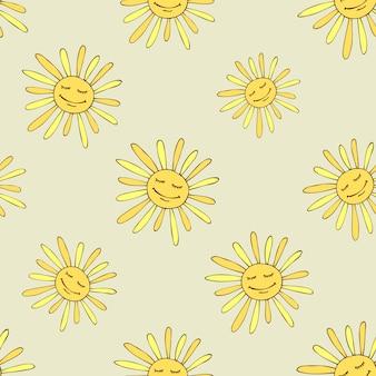 幸せな太陽とパターン。日当たりの良い夏のデザインアート。