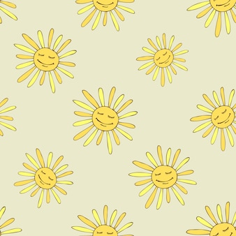 Pattern with happy sun. sunny summer design art.