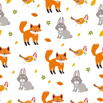 Pattern with hare and fox