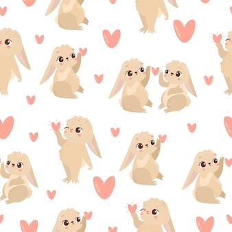Узор с зайцами в любви