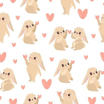 Pattern with hares in love