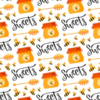 Pattern with honey and bee. seamless sweet vector background