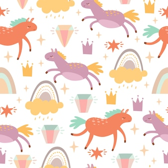 Pattern with horses and rainbows