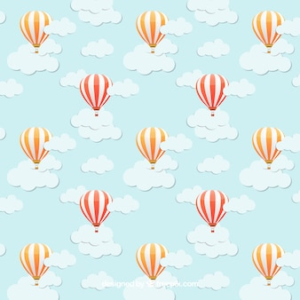 Pattern with hot air balloons on the blue sky