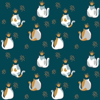 Pattern with an illustration of the backs of spotted cats and lush tails. vector illustration