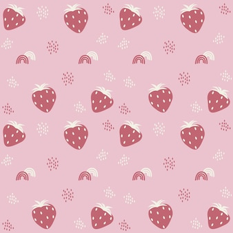 Pattern with illustration of strawberries and rainbow and sunflower seeds decor