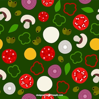 Pattern with ingredients of pizza on a green background