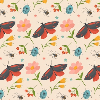 Pattern with insects and flowers