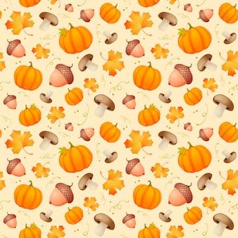 葉、どんぐり、カボチャのパターン。