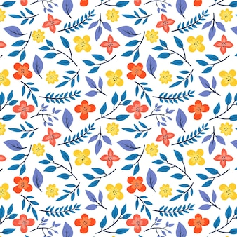 Pattern with leaves and flowers